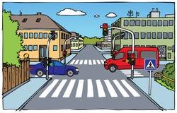 Illustrazione della strada trasversale Immagini Stock Libere da Diritti