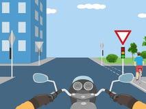 Illustrazione della strada trasversale con il ciclista Fotografia Stock