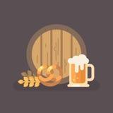 Illustrazione della tazza del barilotto di birra, della ciambellina salata, del grano e di birra illustrazione di stock
