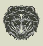 Illustrazione della testa dell'orso grigio con stile di Pop art fotografia stock libera da diritti