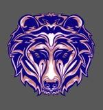 Illustrazione della testa dell'orso grigio con stile di Pop art immagine stock