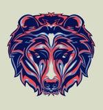 Illustrazione della testa dell'orso grigio con stile di Pop art immagini stock libere da diritti