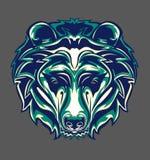 Illustrazione della testa dell'orso grigio con stile di Pop art fotografie stock