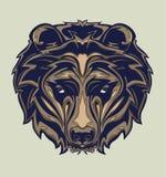 Illustrazione della testa dell'orso grigio con stile di Pop art fotografia stock