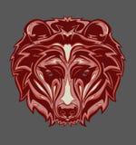 Illustrazione della testa dell'orso grigio con stile di Pop art immagini stock