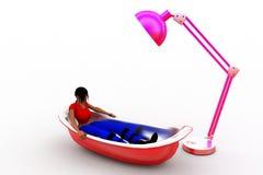 illustrazione della vasca da bagno e della luce dell'uomo 3d Fotografia Stock Libera da Diritti