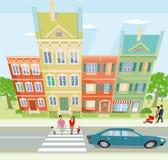 Illustrazione della via della città Fotografie Stock Libere da Diritti