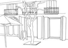 Illustrazione della via Schizzo della città Via europea con le costruzioni, albero Fotografia Stock