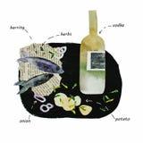 Illustrazione della vodka e dell'aringa del collage illustrazione vettoriale