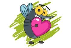 Zanzara divertente del fumetto su un fondo bianco segno del