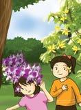 Illustrazione delle bambine e del fiore Fotografia Stock Libera da Diritti