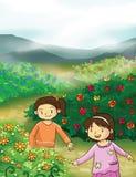 Illustrazione delle bambine e del fiore Fotografia Stock