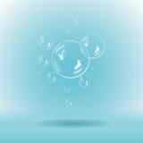Bolle di sapone blu su fondo bianco illustrazione vettoriale