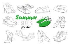 Illustrazione delle calzature grafiche disegnate a mano degli uomini e delle donne dell'insieme, scarpe Scarpa per casuale, lo sp Fotografia Stock Libera da Diritti