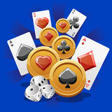 Illustrazione delle carte, dei dadi e delle monete della mazza Immagine Stock