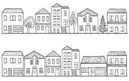 Illustrazione delle case e degli alberi - priorità bassa Fotografie Stock