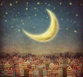 Illustrazione delle case e della luna sveglie in cielo notturno Fotografia Stock Libera da Diritti