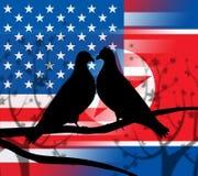Illustrazione delle colombe di pace degli S.U.A. Corea del Nord 3d illustrazione di stock