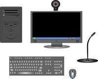 Illustrazione delle componenti di calcolatore nel nero Immagine Stock Libera da Diritti