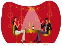 Illustrazione delle coppie del caffè del salotto del ristorante della barra Immagine Stock