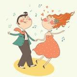Illustrazione delle coppie di dancing dell'oscillazione Immagini Stock