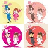 Illustrazione delle coppie di nozze con il vestito da sposa, modello, vec Illustrazione di Stock