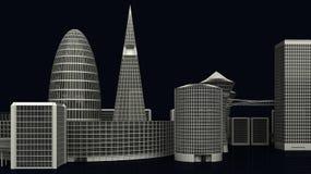 Illustrazione delle costruzioni moderne della città su buio Immagine Stock Libera da Diritti