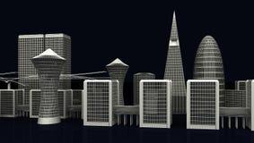 Illustrazione delle costruzioni moderne della città su buio Fotografia Stock