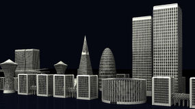 Illustrazione delle costruzioni moderne della città su buio Immagini Stock Libere da Diritti