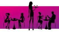Illustrazione delle donne del caffè del salotto del ristorante della barra Immagine Stock Libera da Diritti