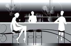 Illustrazione delle donne del caffè del salotto del ristorante della barra Fotografia Stock
