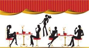 Illustrazione delle donne del caffè del salotto del ristorante della barra Immagini Stock