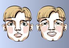 Illustrazione delle espressioni facciali differenti della a Immagine Stock Libera da Diritti