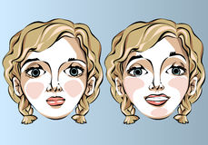 Illustrazione delle espressioni facciali differenti della a Fotografia Stock Libera da Diritti