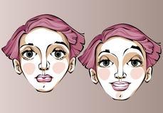 Illustrazione delle espressioni facciali differenti della a Immagini Stock Libere da Diritti