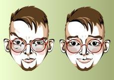 Illustrazione delle espressioni facciali differenti della a Immagine Stock