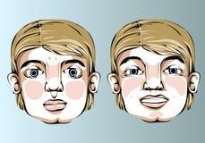 Illustrazione delle espressioni facciali differenti della a Fotografia Stock