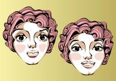 Illustrazione delle espressioni facciali differenti della a Fotografie Stock Libere da Diritti