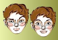 Illustrazione delle espressioni facciali differenti di Fotografie Stock Libere da Diritti