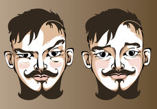 Illustrazione delle espressioni facciali differenti un uomo Fotografia Stock