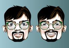 Illustrazione delle espressioni facciali differenti un uomo Fotografie Stock Libere da Diritti