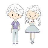 Illustrazione delle icone dei bambini, gruppi, vettore Bambole della ragazza e del ragazzo Immagini Stock Libere da Diritti