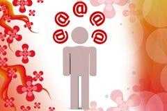 illustrazione delle icone della posta dell'uomo 3d Fotografia Stock Libera da Diritti