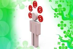 illustrazione delle icone della posta dell'uomo 3d Immagine Stock