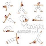 Illustrazione delle icone di asanas di yoga illustrazione vettoriale