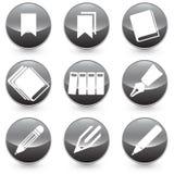 Illustrazione delle icone di Pen Books Bookmarks con fondo nero Fotografia Stock