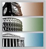 Illustrazione delle insegne di viaggio di Europa Fotografia Stock
