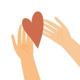 Illustrazione delle mani con cuore Fotografie Stock Libere da Diritti