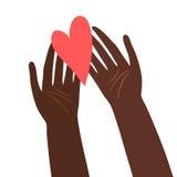 Illustrazione delle mani con cuore Fotografia Stock