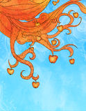 Illustrazione delle mele arancioni sulle filiali Illustrazione di Stock